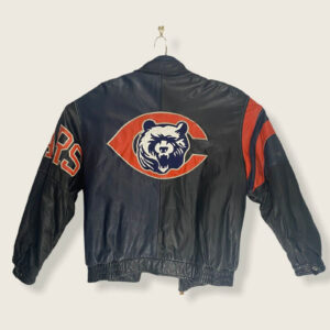Chicago Bears Vintage NFL Black Leather Jacket