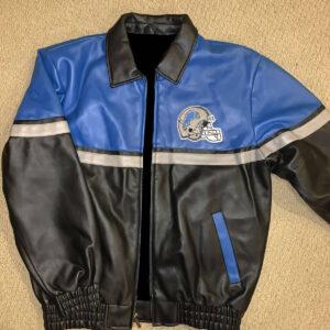 Detroit Lions Blue Football NFL Leather Jacket