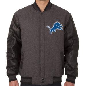 Detroit Lions Embroidered Logos Varsity Jacket