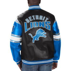 Detroit Lions Football NFL Black Leather Jacket