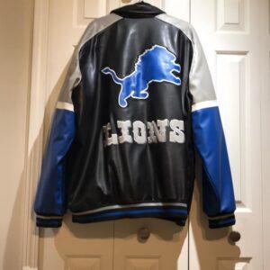 Detroit Lions NFL Black Leather Jacket