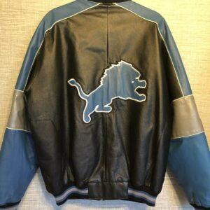 Detroit Lions NFL Football Leather Bomber Jacket