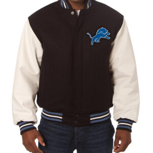 Detroit Lions Two Tone Wool and Leather Jacket