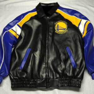 Golden State Warriors Leather Black Blue Yellow Jacket