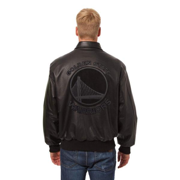 Golden State Warriors NBA Black Leather Jacket