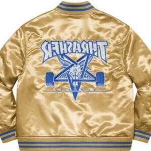 Golden Supreme Thrasher Satin Varsity Jacket