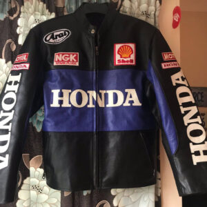 Honda Motorcycle Black And Blue Racing Leather Jacket