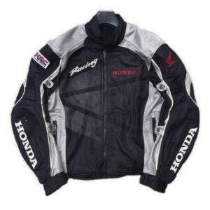 Honda Motorcycle Black And Gray Racing Textile Jacket