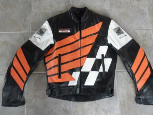 Honda Motorcycle Black And Orange Racing Leather Jacket