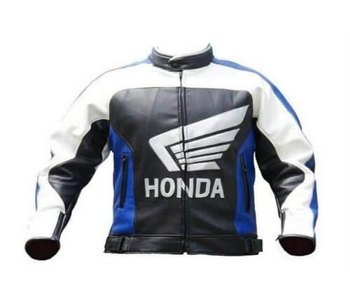 Honda Motorcycle Black And White Leather Jacket