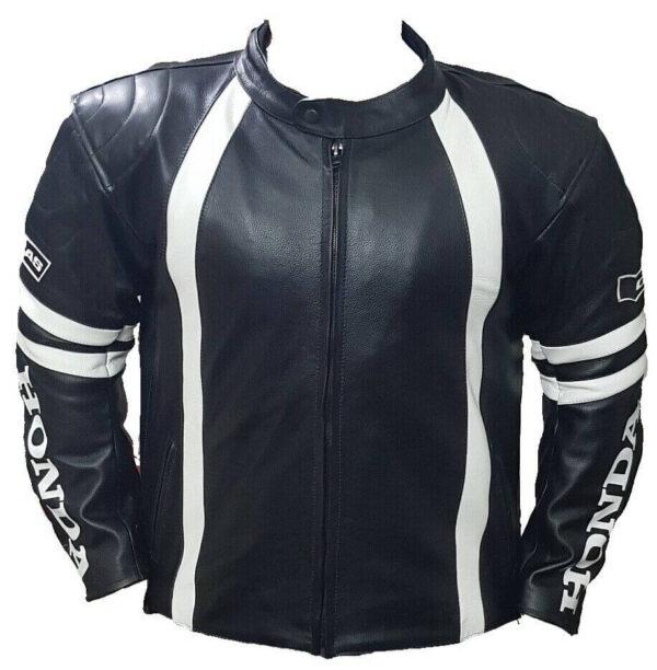 Honda Motorcycle Black And White Racing Leather Jacket