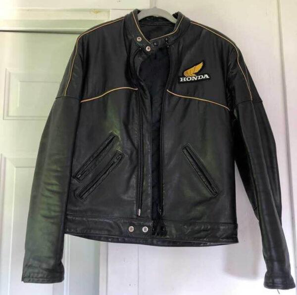 Honda Motorcycle Black Leather Jacket