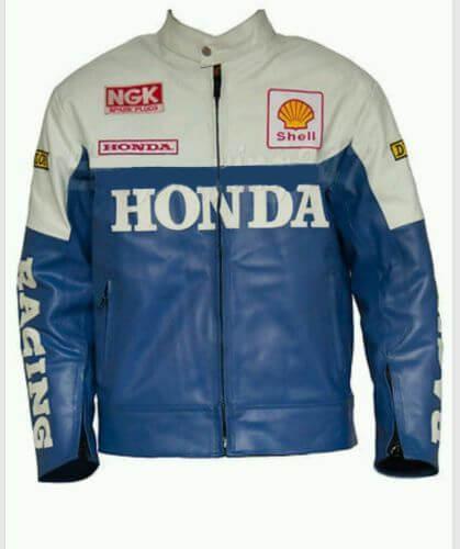 Honda Motorcycle Blue And White Leather Jacket