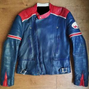 Honda Motorcycle Blue Biker Leather Jacket