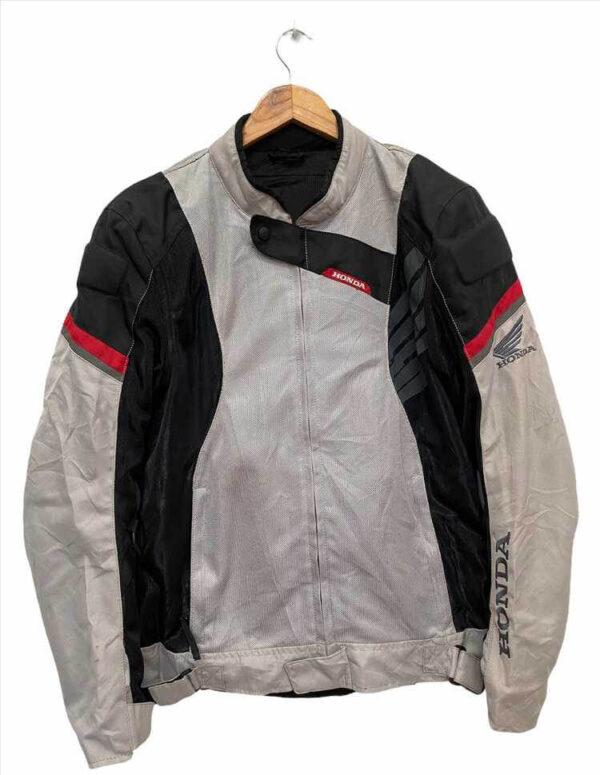 Honda Motorcycle Gray And Black Racing Textile Jacket