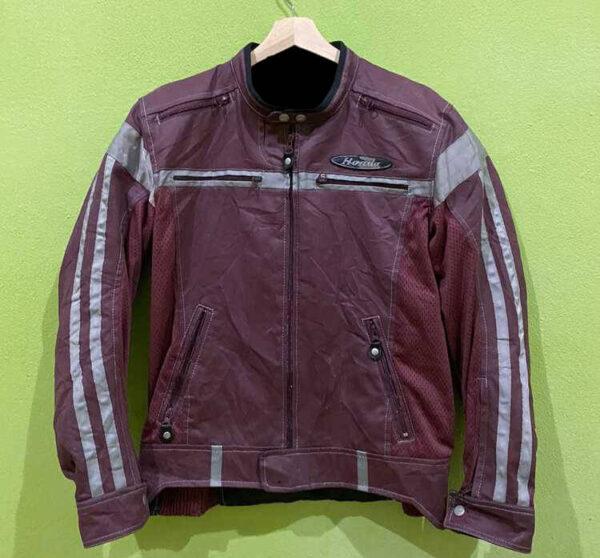 Honda Motorcycle Maroon And Gray Racing Textile Jacket