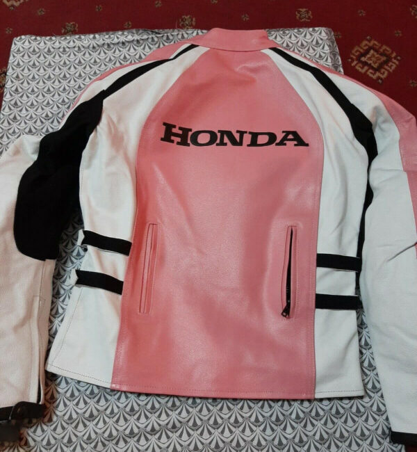 Honda Motorcycle Pink And White Leather Jacket
