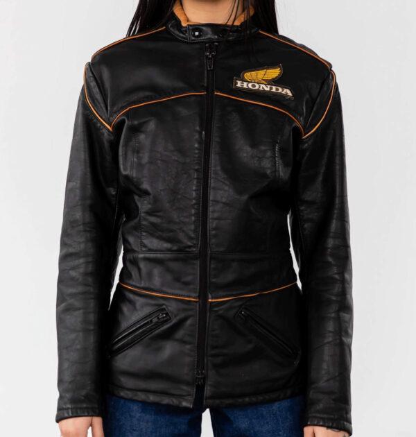Honda Motorcycle Racing Black Leather Jacket
