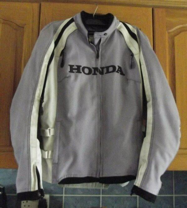Honda Motorcycle Racing Gray Textile Jacket