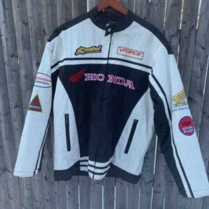 Honda Motorcycle White And Black Textile Jacket