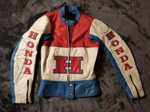 Honda Motorcycle White And Blue Racing Leather Jacket
