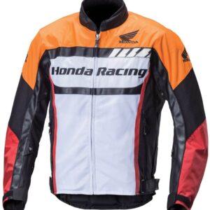 Honda Motorcycle White And Orange Racing Jacket