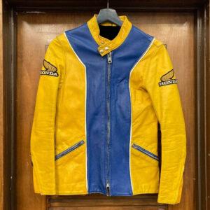 Honda Motorcycle Yellow And Blue Racing Leather Jacket