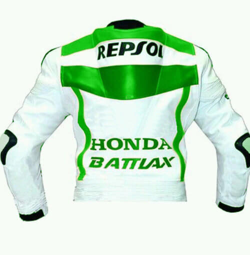 Honda Repsol Motorcycle White And Green Leather Jacket
