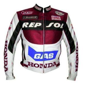 Honda Repsol Motorcycle White Leather Jacket