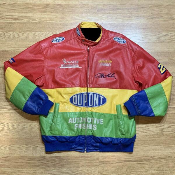 Jeff Gordon DuPont NASCAR Rainbow Leather Jacket