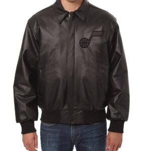 Jeff Hamilton NBA Utah Jazz Black Leather Jacket