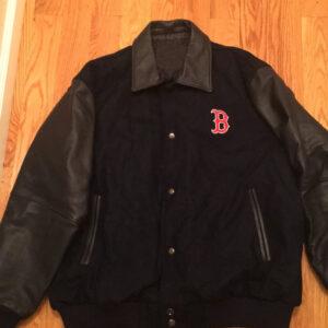 MLB Black Boston Red Sox Wool Leather Jacket