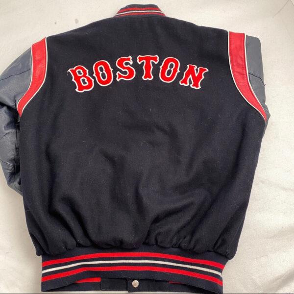 MLB Black Gray Boston Red Sox Wool Leather Jacket