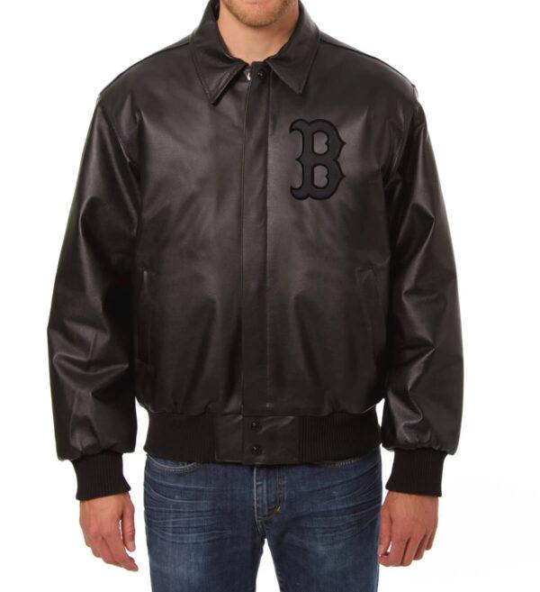 MLB Boston Red Sox Black Leather Jacket