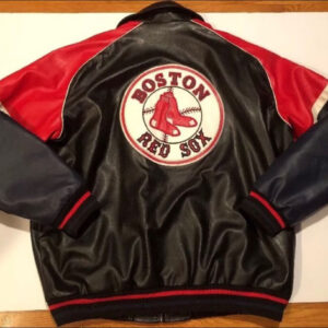 MLB Boston Red Sox Red Black Leather Jacket