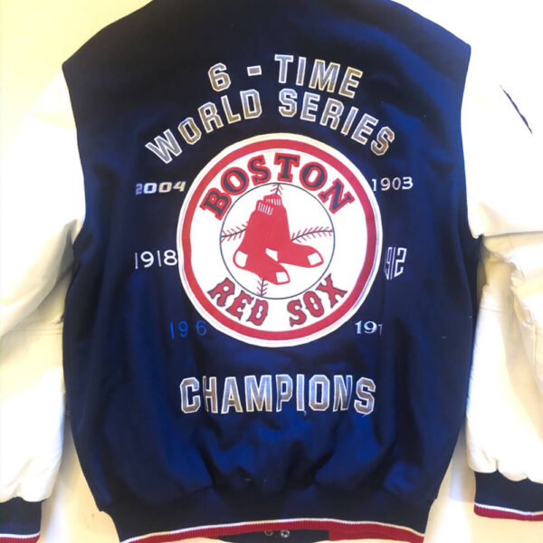 MLB Navy Blue Boston Red Sox Wool Leather Jacket