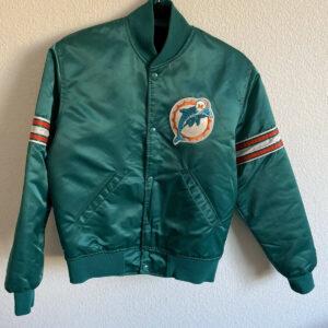 Miami Dolphins Green Satin Windbreaker Jacket
