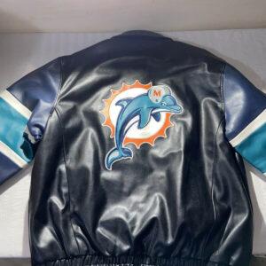 Miami Dolphins NFL Black Leather Jacket