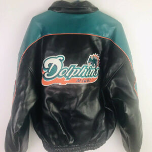 Miami Dolphins NFL Game Day Zip Down Leather Jacket