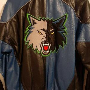 Minnesota Timberwolves Black Leather Full Zip Jacket