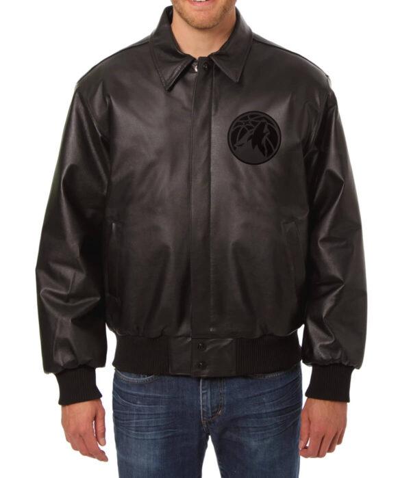 Minnesota Timberwolves NBA Black Leather Jacket