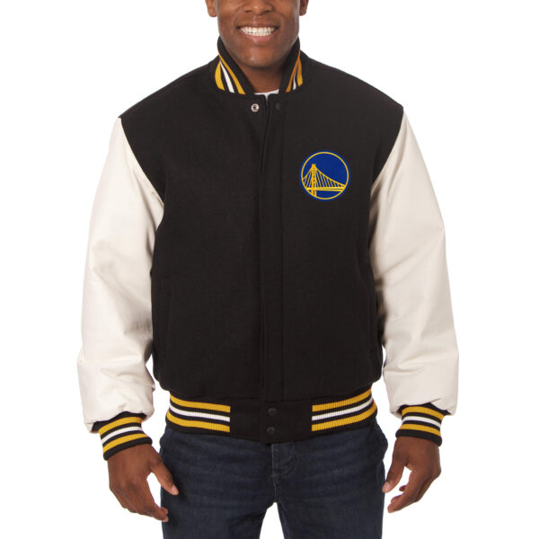 NBA Black Golden State Warriors Wool Leather Jacket