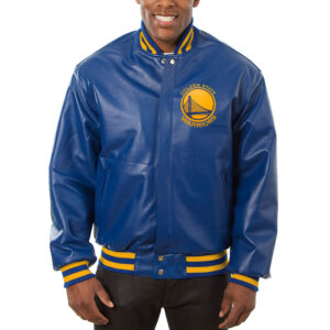 NBA Blue Golden State Warriors Leather Jacket