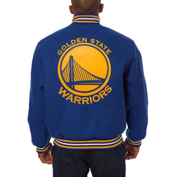 NBA Blue Golden State Warriors Wool Jacket