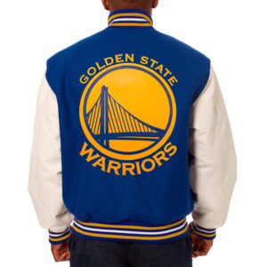 NBA Blue Golden State Warriors Wool Leather Jacket