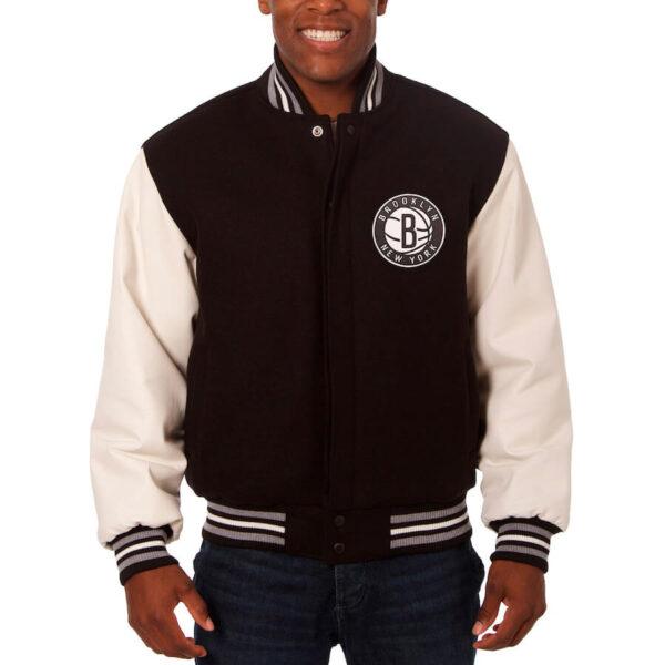 NBA Brooklyn Nets Black Varsity Jacket