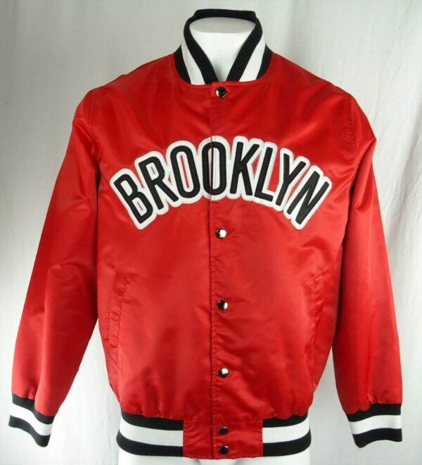 NBA Brooklyn Nets Red Satin Jacket