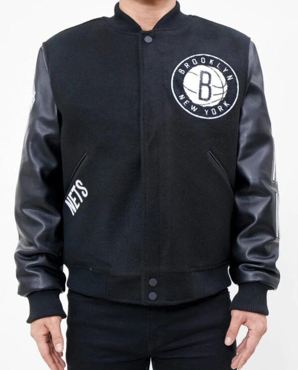 NBA Brooklyn Nets Varsity Black Jacket