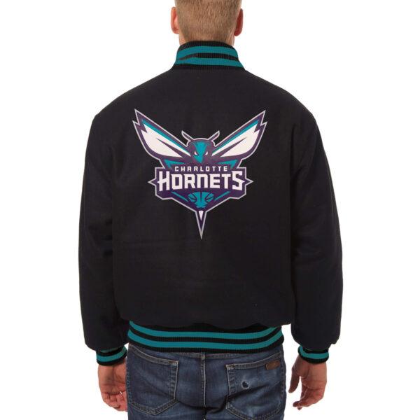 NBA Charlotte Hornets Black Full Snap Wool Jacket