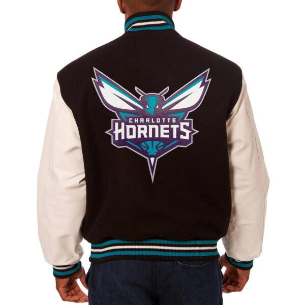 NBA Charlotte Hornets Black Wool Leather Jacket